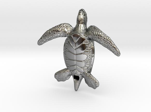 Sea Turtle in Polished Silver