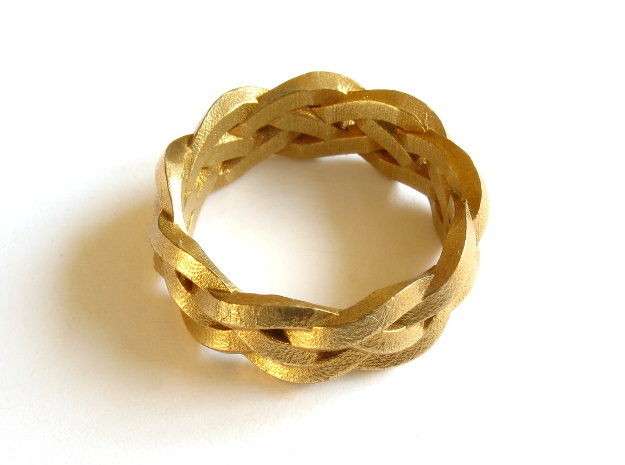 Four-strand Braid Ring in Natural Brass