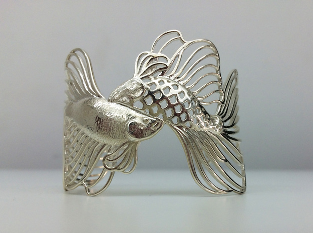 Pisces all sizes in Fine Detail Polished Silver: Small