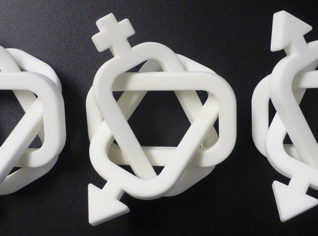 equivalent Borromean rings 3d printed Equivalent Borromean Rings