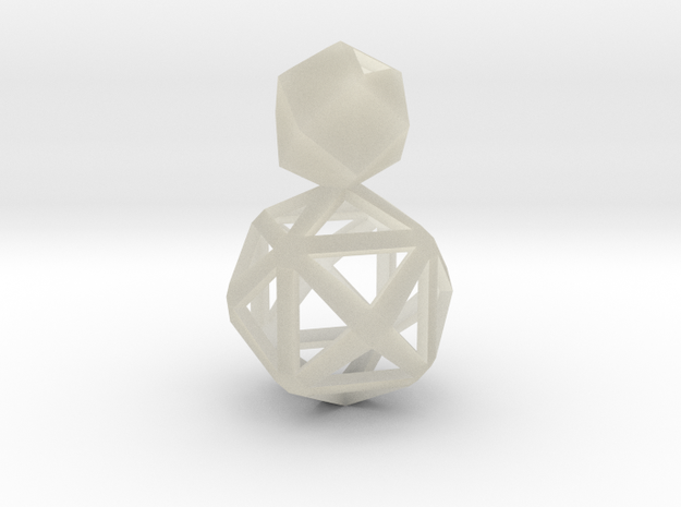 Polyhedron Snowman Earring 3d printed