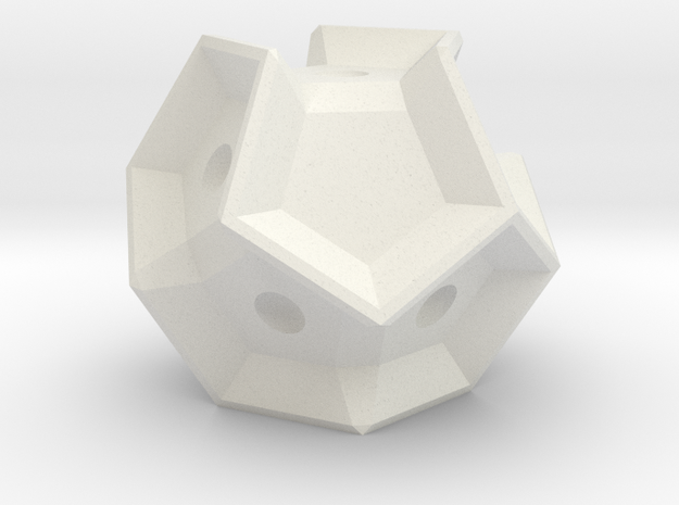 4-sided die. Rolls. in White Strong & Flexible