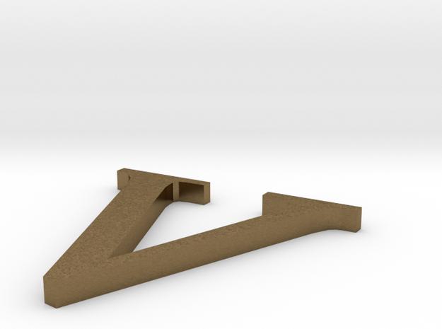 Letter-V in Raw Bronze