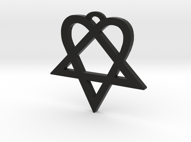 Heartagram (L) in Black Natural Versatile Plastic