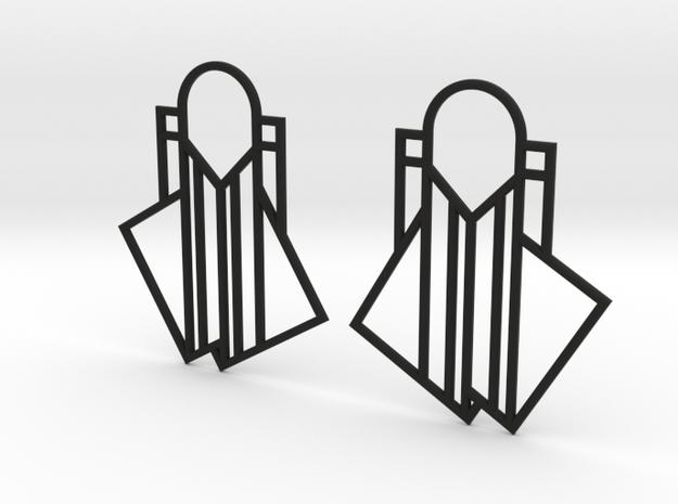 A Little Off-Center Earrings in Black Natural Versatile Plastic