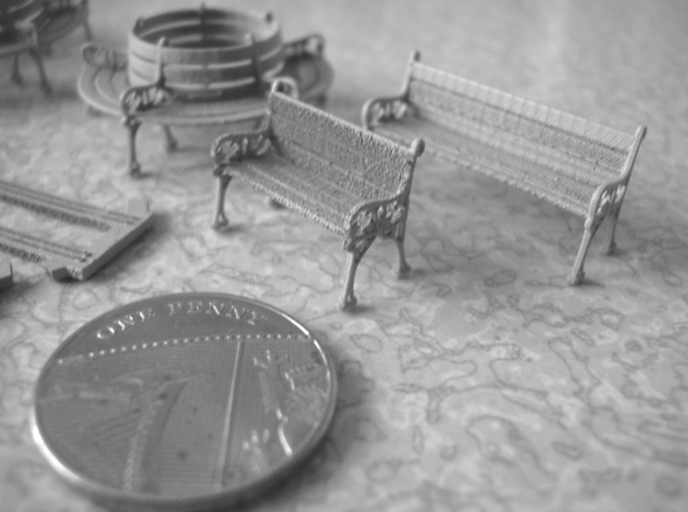 Victorian Ivy style 1:76 OO scale bench set 3d printed Another shot with a UK 1 pence coin for scale