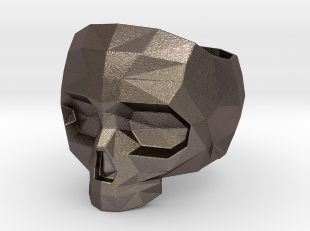 Lapidated Skull Size 13 (inner diameter = 22.2 mm) in Polished Bronzed Silver Steel