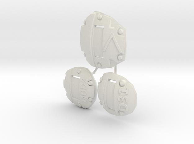 1:6 scale sci-fi Armor Plate alphanumeric in White Natural Versatile Plastic
