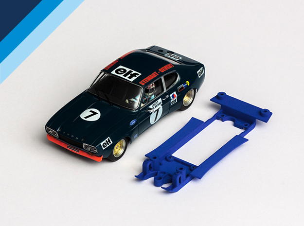 1/32 SRC Ford Capri RS Chassis for Slot.it IL pod in Blue Strong & Flexible Polished