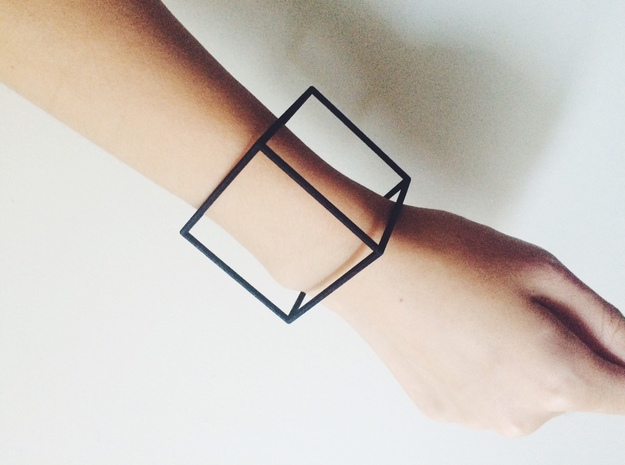 Cube Bracelet - Small in Black Natural Versatile Plastic