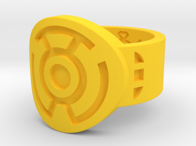 Sinestro FF Ring (Sz's 5-15) in Yellow Strong & Flexible Polished