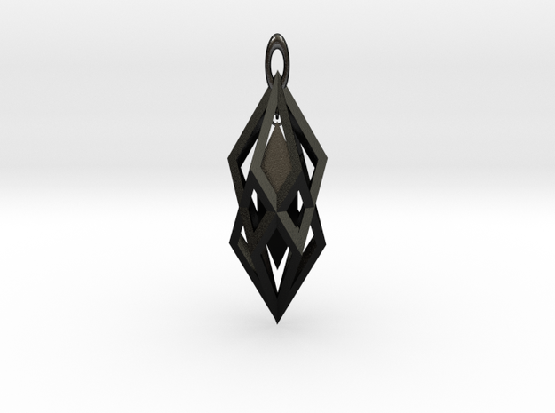 Hanging Crystal Pendent in Matte Black Steel