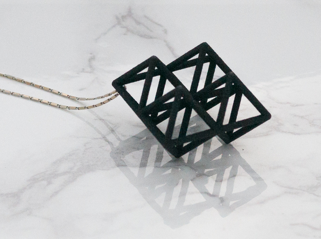 Octahedron Pendant in Black Strong & Flexible