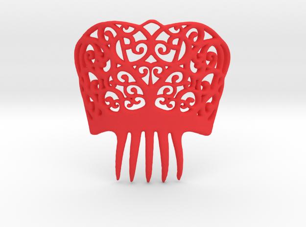 Spanish Peineta Hair Comb in Red Processed Versatile Plastic
