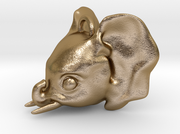 Baby Elephant Pendant in Polished Gold Steel