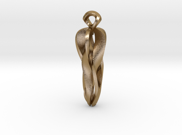 Pendant, Stylized 1 in Polished Gold Steel