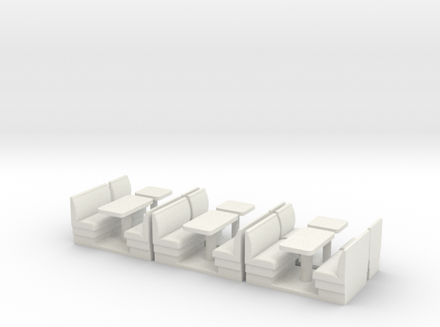S Scale Resturant Booths X6 in White Natural Versatile Plastic