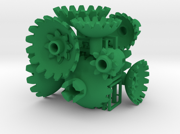 Green Gears & Tiles for the Multi-Gear Cube Kit in Green Processed Versatile Plastic