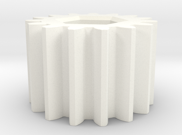 Gear Mn=4 Z=15 Pressure Angle=20° with internal he in White Processed Versatile Plastic