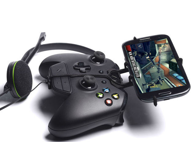 Xbox One controller & chat & Sharp SH530U 3d printed Side View - A Samsung Galaxy S3 and a black Xbox One controller & chat