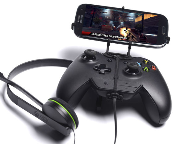 Xbox One controller & chat & Sharp SH530U 3d printed Front View - A Samsung Galaxy S3 and a black Xbox One controller & chat