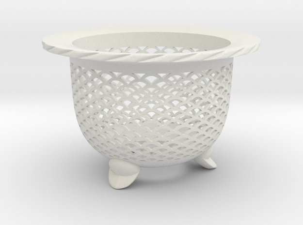 """Neo Pot - Model 1 - Size 3.0 (2.8"""" ID) in White Strong & Flexible"""