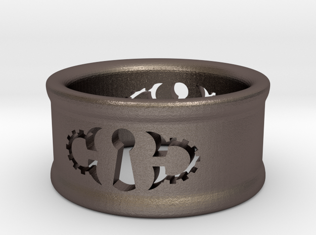 Custom Keyhole Steam: Ring Size 7 in Polished Bronzed Silver Steel