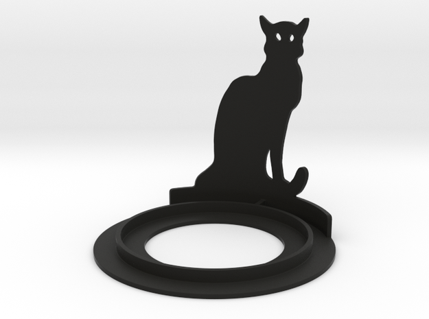 Halloween Cat Tea Candle Holder in Black Natural Versatile Plastic