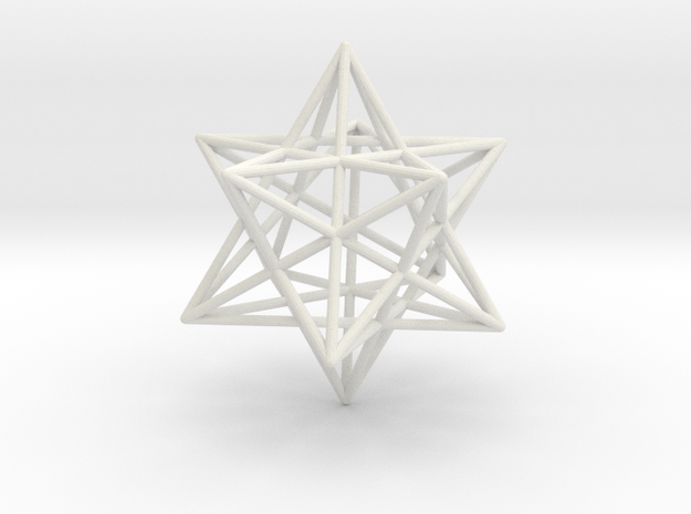 Stellated Dodecahedron 35mm in White Natural Versatile Plastic