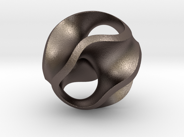 Gyroid Pendant in Polished Bronzed Silver Steel