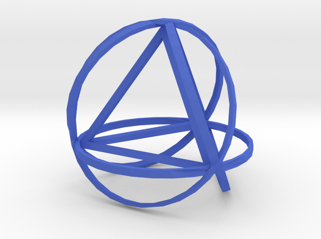 Tetrahedron inside rings 3d printed