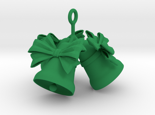 3 Christmas Bells  in Green Processed Versatile Plastic