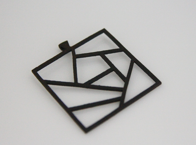 Crazy Quilt Pendant - Thicker Lines in Matte Black Steel