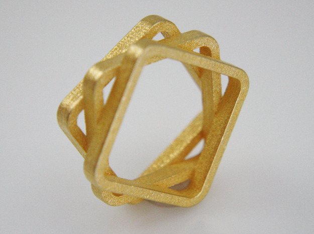 Stacked And Staggered Ring - US Size 08 in Polished Gold Steel