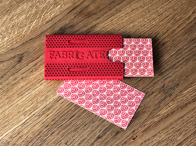 Business card case -Fabrigate in Red Strong & Flexible Polished