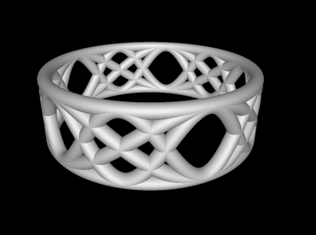 Sine Ring Flat 3d printed Ring design shown in Functy.