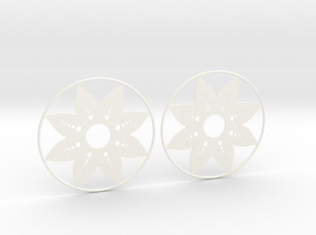 Sunflower Hoop Earrings 60mm in White Processed Versatile Plastic