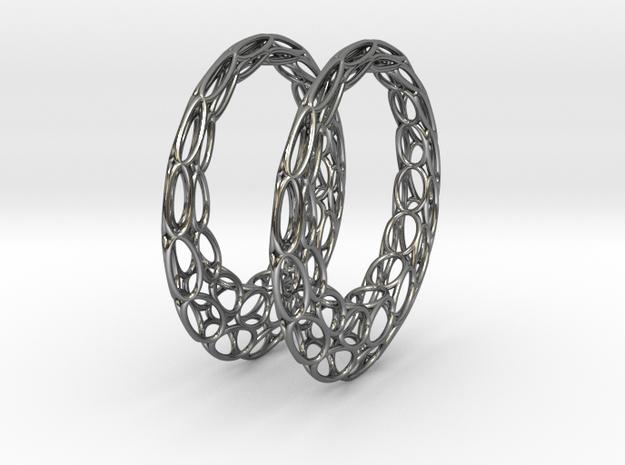 Round Wire Hoop Earrings 50mm in Fine Detail Polished Silver
