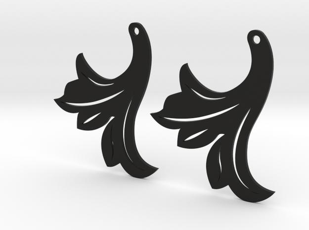 Leaf Earrings 40mm in Black Natural Versatile Plastic