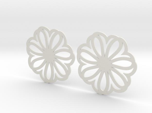 Seven Heart Hoop Earrings 40mm in White Natural Versatile Plastic