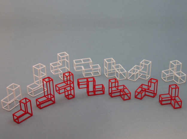 """SOMA's Revenge"" - Interlocking Puzzle Cube 3d printed Inner parts in red, Outer parts in white"