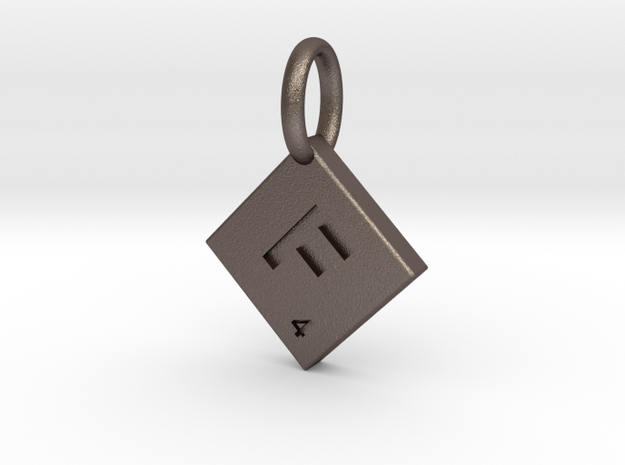 SCRABBLE TILE PENDANT F in Polished Bronzed Silver Steel