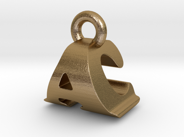 3D Monogram Pendant - ACF1 in Polished Gold Steel