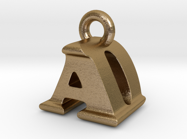 3D Monogram Pendant - ADF1 in Polished Gold Steel