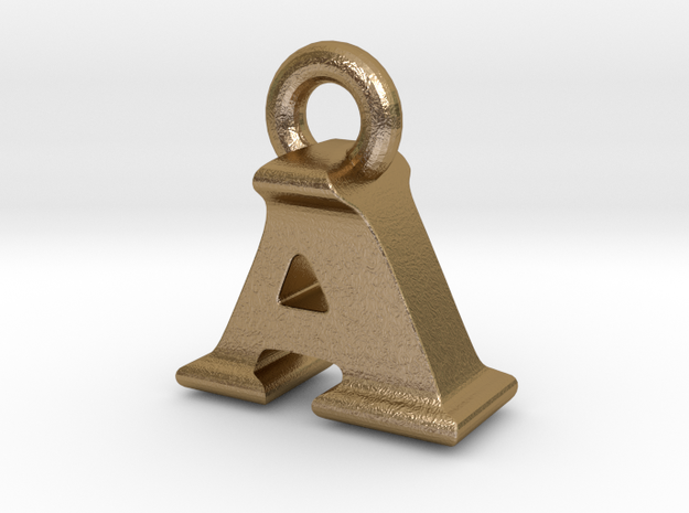 3D Monogram Pendant - AIF1 in Polished Gold Steel