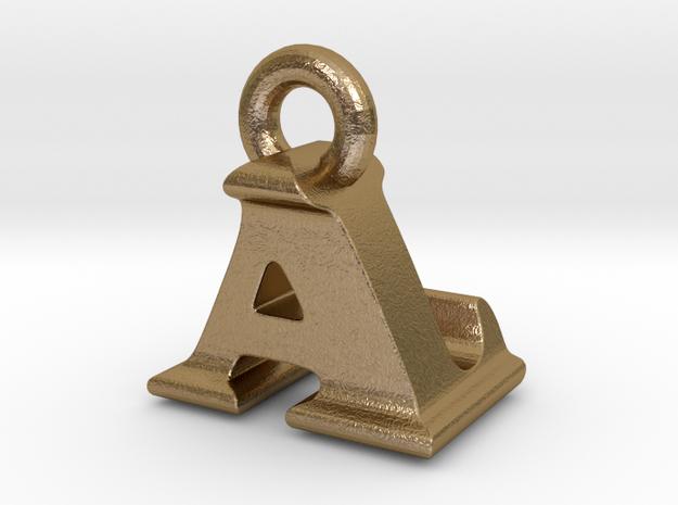 3D Monogram Pendant - ALF1 in Polished Gold Steel