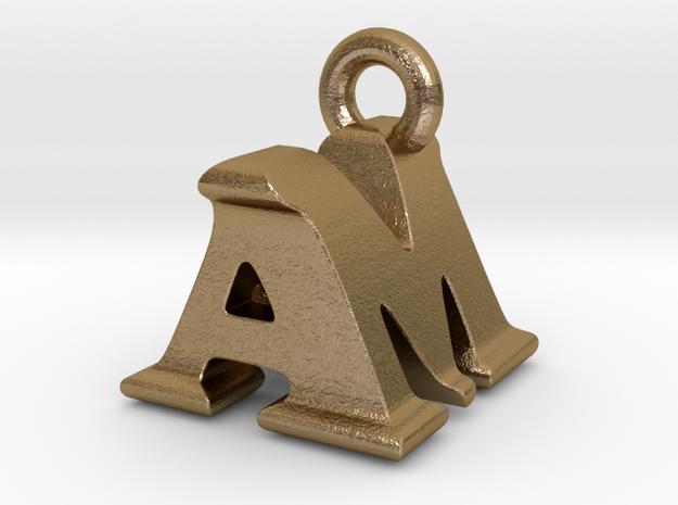 3D Monogram Pendant - AMF1 in Polished Gold Steel