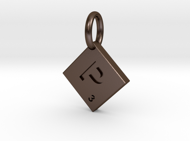 SCRABBLE TILE PENDANT  P  in Polished Bronze Steel