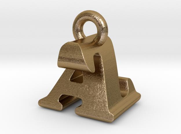 3D Monogram Pendant - AZF1 in Polished Gold Steel