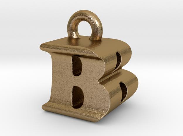 3D Monogram Pendant - BBF1 in Polished Gold Steel